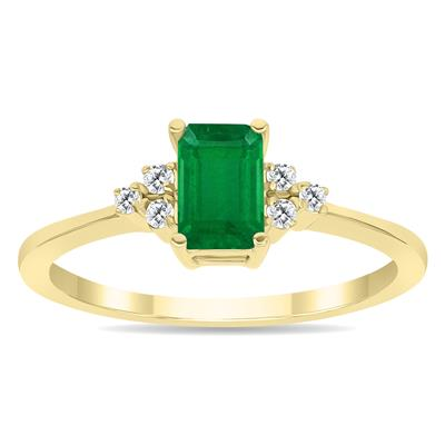 Emerald and Diamond Regal Ring in 10K Yellow Gold