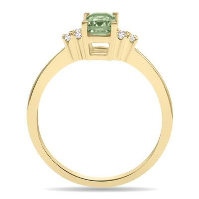 Green Amethyst and Diamond Regal Ring in 10K Yellow Gold