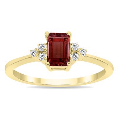Garnet and Diamond Regal Ring in 10K Yellow Gold