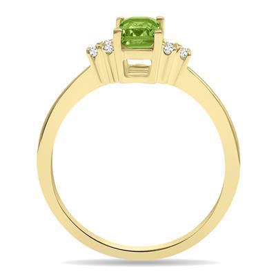 Peridot and Diamond Regal Ring in 10K Yellow Gold