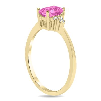 Pink Topaz and Diamond Regal Ring in 10K Yellow Gold