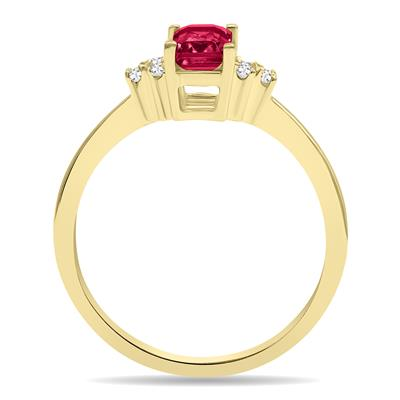 Ruby and Diamond Regal Ring in 10K Yellow Gold