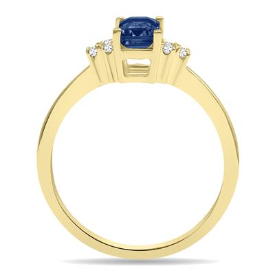 Sapphire and Diamond Regal Ring in 10K Yellow Gold