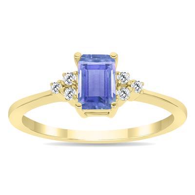 Tanzanite and Diamond Regal Ring in 10K Yellow Gold