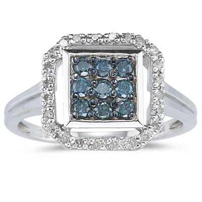 Blue And White Diamond Ring 10k White Gold