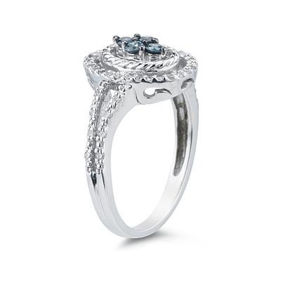 Blue and White Diamond  Ring in 10k White Gold