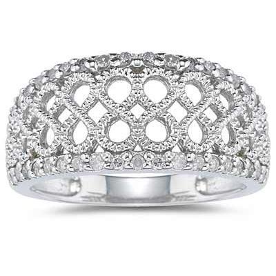 Diamond Rope Twist Ring in White Gold