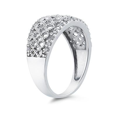 Diamond Rope Twist Ring in White Gold
