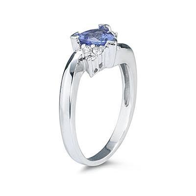 Trillion Cut Tanzanite and Diamond Ring in 14K White Gold