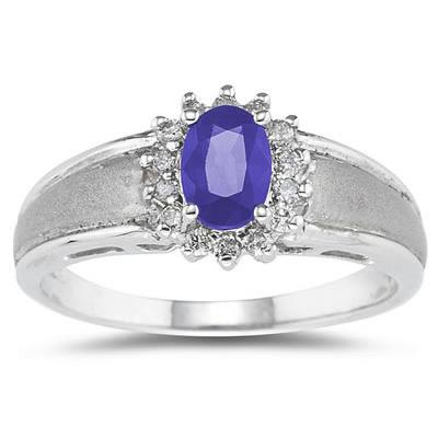 Tanzanite  and Diamond Flower Ring 10k White Gold