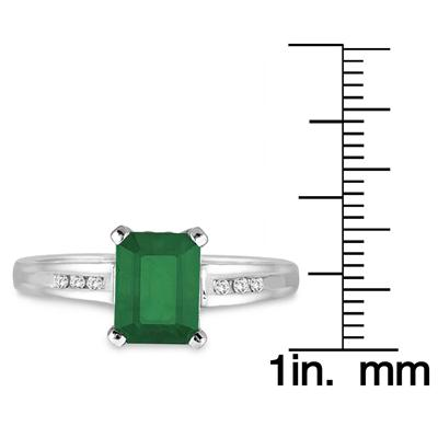 Emerald and Diamond Ring in 14k White Gold