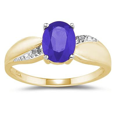 Tanzanite and Diamond  Ring 10K yellow Gold