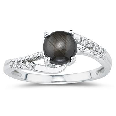 Black Star Sapphire and Diamond  Ring in 10k White Gold