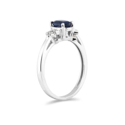 Sapphire and Diamond Ring 10K White Gold