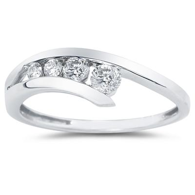 .25CTW Diamond Journey Ring in Platinum Plated Sterling Silver