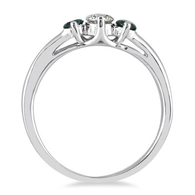 1/2 Carat Blue and White Diamond Three Stone Ring in 10K White Gold