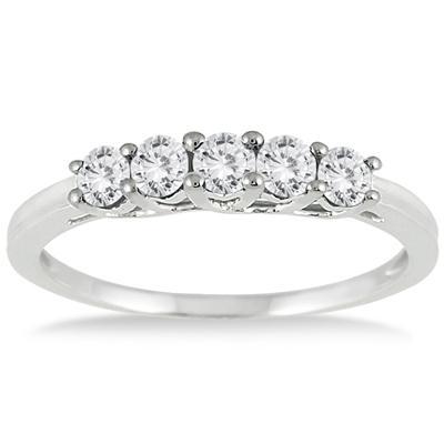 1/4 Carat TW Diamond 5 Stone Ring in 10K White Gold