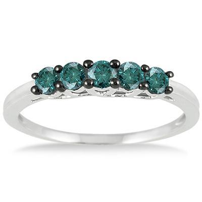 1/4 Carat Blue Diamond 5 Stone Ring in 10K White Gold