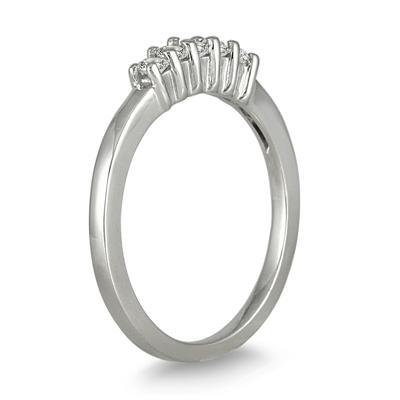 1/4 Carat TW 5 Stone Diamond Wedding Band in 10K White Gold