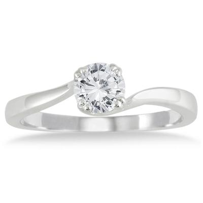 1/2 Carat Diamond Solitaire Engagement Ring in 10K White Gold