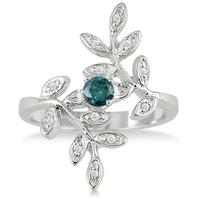 Blue and White Diamond Leaf Ring in 10K White Gold