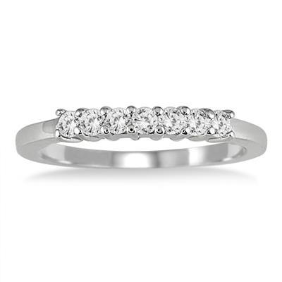 3/8 Carat TW 7 Stone Diamond Band in 10K White Gold