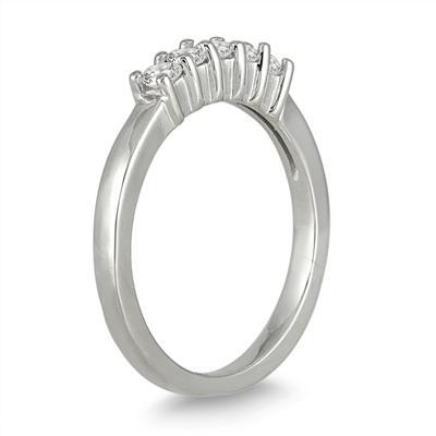 1/2 Carat 5 Stone Diamond Wedding Band in 10K White Gold
