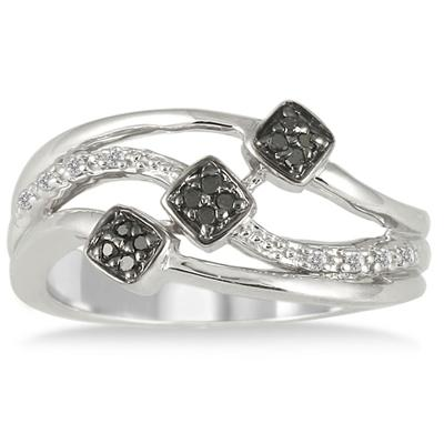 1/10 Carat T.W Black and White Diamond Ring in .925 Sterling Silver