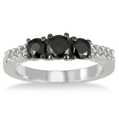 1.10 Carat TW Black and White Diamond Three Stone Ring in .925 Sterling Silver