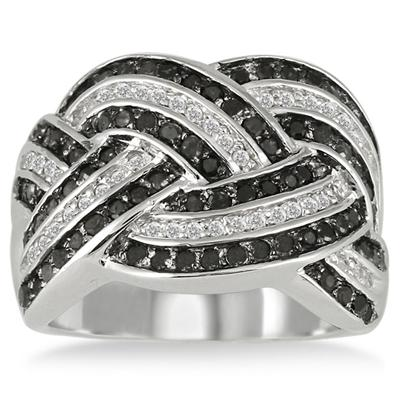 1 Carat T.W Black and White Diamond Ring in .925 Sterling Silver