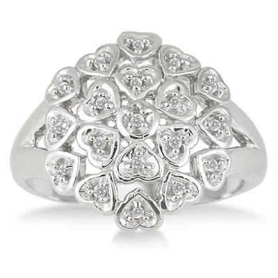 1/10 Carat T.W Diamond Heart Bouquet Ring in .925 Sterling Silver