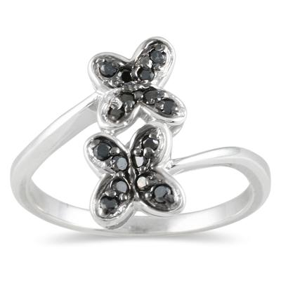 1/4 CTW Diamond Butterfly Ring in Sterling Silver