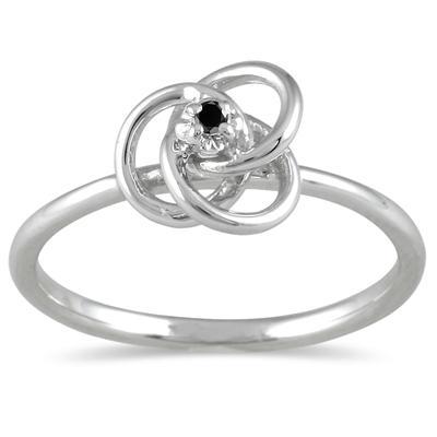 Black Diamond Swirl Promise Ring in 10K White Gold