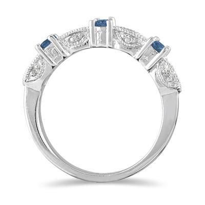 1/3 Carat TW Blue Diamond Band in 10K White Gold