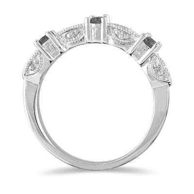 1/3 Carat TW Black and White Diamond Band in 10K White Gold