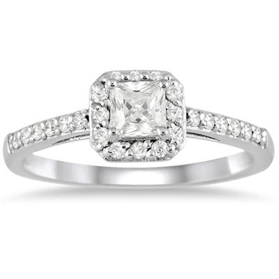 1/2 Carat TW Princess Halo Engagement Ring in 10K White Gold