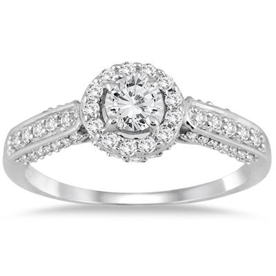 7/8 Carat TW Diamond Halo Engagement Ring in 10K White Gold