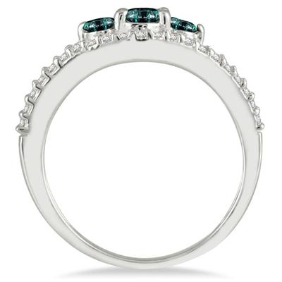 Blue and White Diamond Three Stone Ring in 10K White Gold