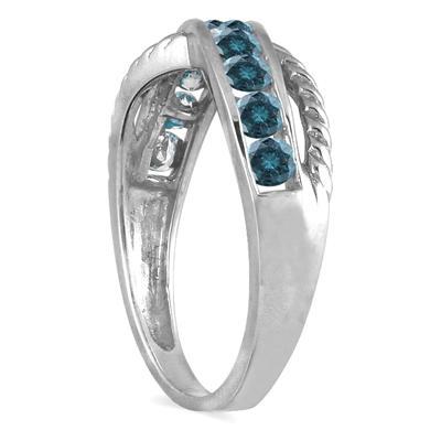 1/2 Carat TW 10 Stone Blue Diamond Ring in 10K White Gold