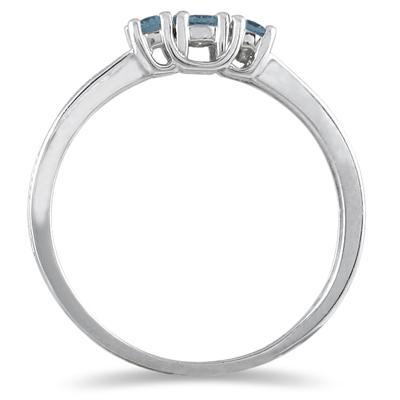 1/4 Carat TW Blue Diamond 3 stone Ring in 10K White Gold