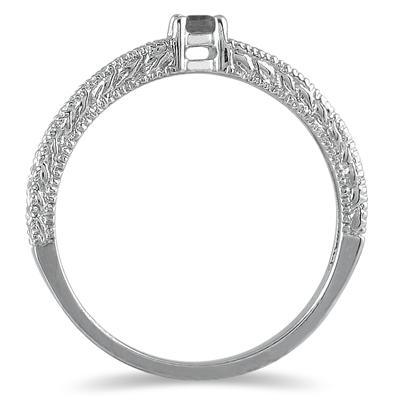 Antique Black Diamond Promise Ring in 14K White Gold