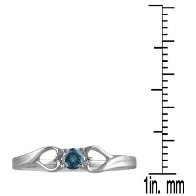 1/10 Carat TW Blue Diamond Heart Ring in 10K White Gold