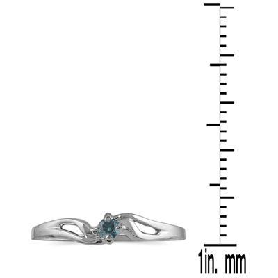 .05 Carat Blue Diamond Promise ring in 10K White Gold
