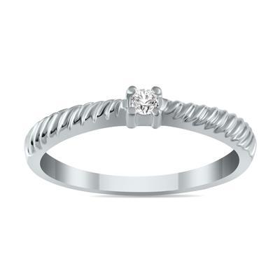 .05 Carat Diamond Rope Promise Ring in 10K White Gold