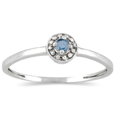 .05 Carat Blue Diamond Antique Promise Ring in 10K White Gold