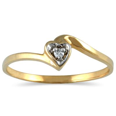 .02 Carat Diamond Accent Heart Promise Ring in 10K Yellow Gold