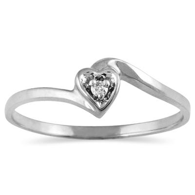 Diamond Accent Heart Promise Ring in 10K White Gold