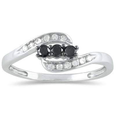 1/4 Carat Black and White Three Stone Diamond Ring in .925 Sterling Silver
