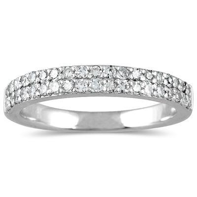 3/8 Carat TW Diamond Wedding Band in 10K White Gold