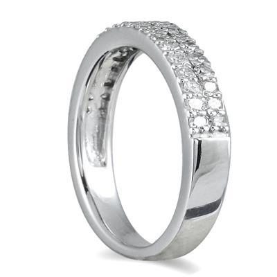 3/8 Carat TW Double Row Diamond Wedding Band in 10K White Gold